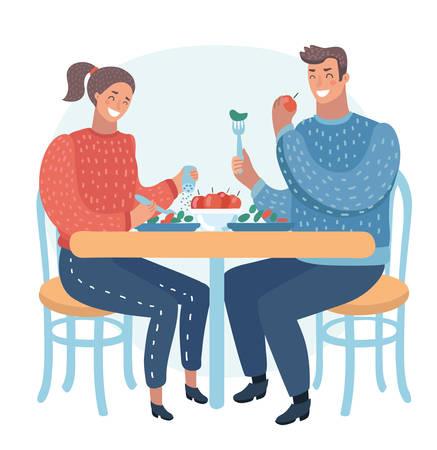 Vector Karikaturillustration von den Paaren, die im Straßencafé zu Abend essen. Gesundes Essen. Lustige menschliche Figuren auf weißem Hintergrund.