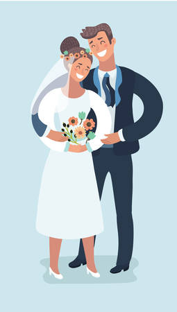 Vector cartoon funny illustration of Weddingt. Bridal ceremony, handsom groom and pretty bride in modern style. Characters on isolated white background.