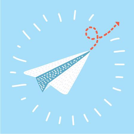 Stuur pictogram cartoon vectorillustratie, papieren vliegtuigje in moderne stijl vliegen. Stock Illustratie