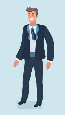 Vecotor cartoon funny illustration of the groom in a wedding suit Handsome man. Character on isolated white background. Vettoriali