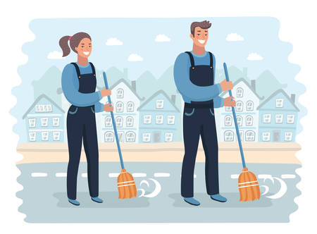 Vector cartoon illustration of male and female smiling young janitor in a blue suit, sweeping the floor with broom. Professional cleaning,  service, isolated on town landscape background