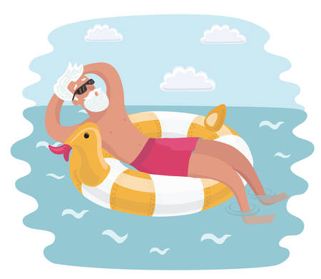 Vector cartoon funny illustration of the old man relaxation on rubber ring on the sea waves.