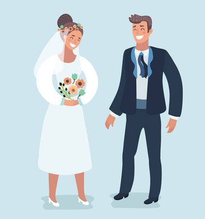 Vector cartoon illustration of Bride and groom. Wedding card with the newlyweds. Characters on isolated bacground. Couple in modern style. 向量圖像