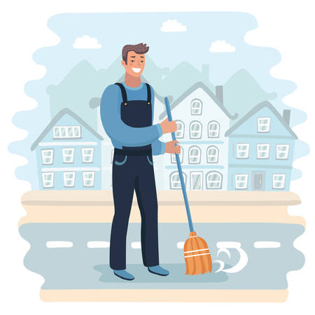 Vector cartoon illustration of handsome happy Janitor sweeping the fallen leaves. Cozy landscape background