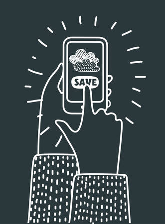 Vector cartoon illuatration of cloud computing and communication technology concept with mobile phone. Hand hold the phone