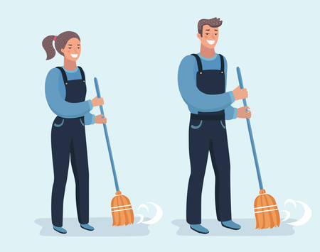 Vector cartoon illustration set of Janitors sweeping the streets. Pretty girl and handsome guy. Charackters on white bacgkround
