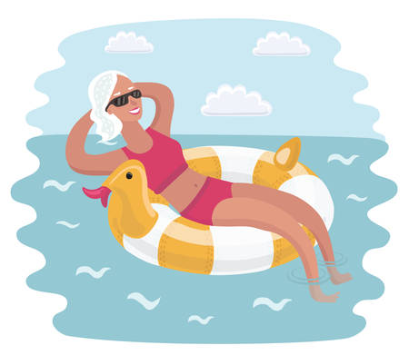 Cartoon illustration of elderly woman relaxing on rubber ring.