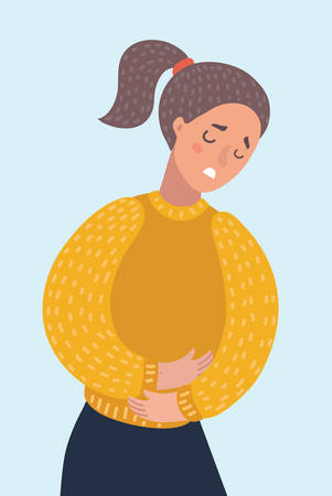 Vector cartoon illustration of woman suffering from stomach pain