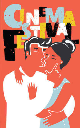Vector cartoon illustration of movie cinema festival poster. Romantic comedy brightest concept. and hand drawn lettering. Kissing couple.+ Illustration