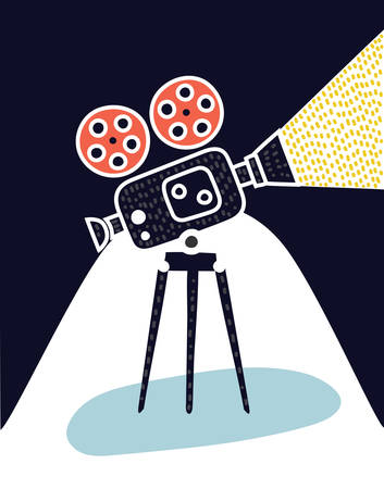 Video camera icon on a dark background.+