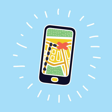 Vector cartoon illustration of Mobile Navigation and destination. Modern cartoon concept in modern colorful style+