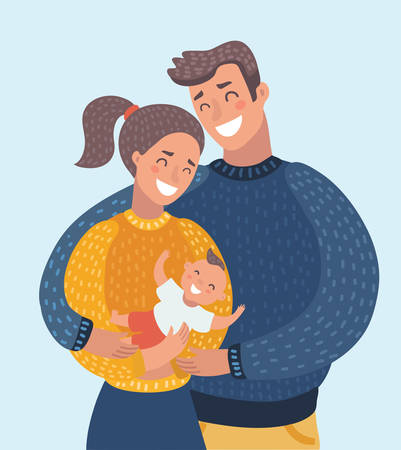 Vector cartoon illustration of smiling mother and father holding their newborn baby son. Cute family couple with child. Characters on isolated background. Close up image.+ Vectores