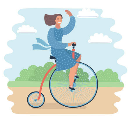 Vector cartoon illustration of beautiful young woman in blue dress having rest in summer park near her stylish lady retro vintage bicycle. Waving smiling happy female character. Penny farthing bicycle