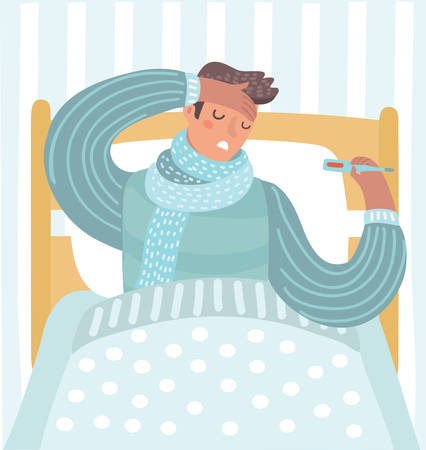 Vector cartoon illustration of Man feeling bad lying in the bed and with flu taking her temperature in bed.