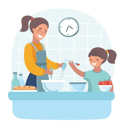 Vector cartoon illuatration of young beautiful mother teaches daughter to cook in the kitchen.+