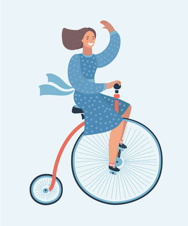 Vector cartoon illustration of lady on a vintage retro bicycle. Funny smiling female character on white background. Penny farthing bicycle