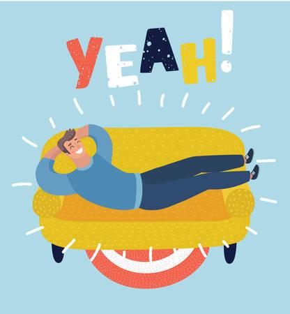 Vector Karikaturillustration der einfachen Karikatur eines glücklichen Mannes, der auf Sofa ein Schläfchen hält. Legen, entspannen, aufladen, Thema ausruhen. Ja! Beschriftung.