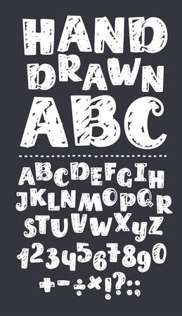 Vector cartoon Sans chalk alphabet with capital letters. Numbers, several signs symbols. Textured white characters on dark background. Division sign, multiplication, plus, equals Vectores