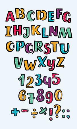 Vecteur de bande dessinée dessinée majuscule lettrage dessin au marqueur. Décrire les lettres ABC dans n couleurs différentes. Nombres et signe sur fond blanc. Signe de division, multiplication, plus, égal