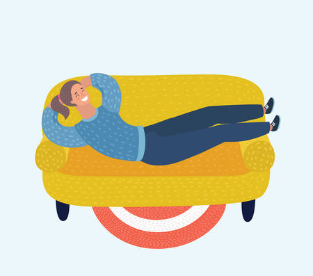 Vector cartoon illustration of Beautiful woman laying on yellow colorful comfortable sofa. Lazy vacation, downshifting, freelance. Relaxation, procastination. Funny female happy characters