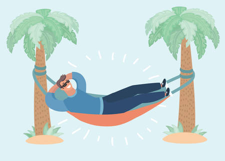 Vector cartoon illustration of man lying in a hammock attached to palm trees. Lazy vacation, downshifting, freelance. Freedom in tropical resort. Relaxation, procastination. Funny male characters