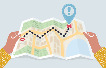 Vector carton illustration of hands holding abstract city map with pin. Destination, location, route, start point. Folded Map in human hand. Finding the way, gps navigation concept. Location maps, travel destination, route illustration in flat style. Illustration