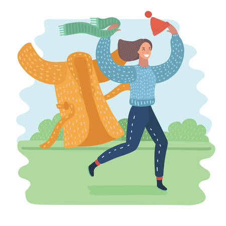 Vector cartoon illustration of happy woman taking off her outerwear in warm time: hat with pompom, scarf and coat. Running girl on green park landscape. Spring, summer time or change location: migration, holiday concept