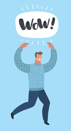 Vector cartoon illustration of wandering man running straght direction with happy and cheerful expression. Wow lettering in speech bubble cloud. Funny male characters on blue background. Super offer