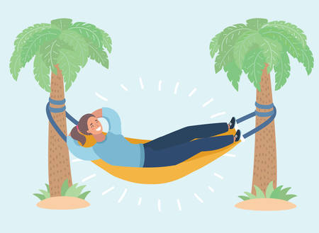 Vector cartoon illustration of Lady lay in the hammock attached to palm trees. Lazy vacation, downshifting, freelance. Freedom in tropical resort. Relaxation, procastination. Funny female happy characters on white background. Vectores