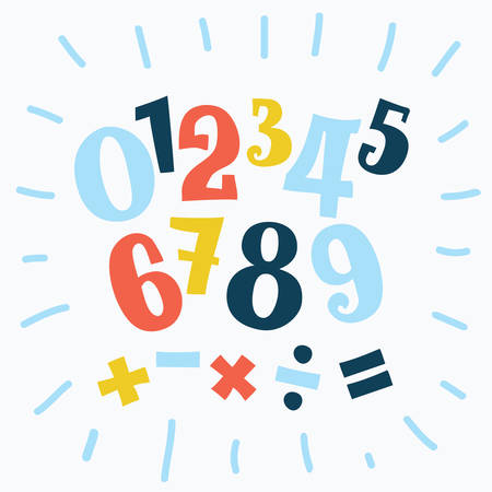 Vector cartoon funny set of alphabet numbers in different size and colors. Division sign, multiplication, plus, equals. Math collection. Vectores