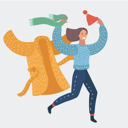 Vector girl take off wearing coat and scarf and cup in end of winter. Running woman. Funny female happy characters on white background. Vectores