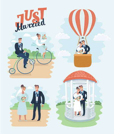 Vector cartoon illustration of just married, newlyweds, bride and groom set. Couple celebrating marriage, riding retro bike, fly air ballon, holding each other in arms, wedding gazeboo. Outdoor, park.