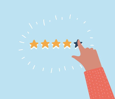 Vector cartoon funny illustration of Rating selection finger. Human hands put estimate. Rank. Five stars. Isolated objects.