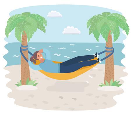Vector cartoon illustration of Woman in Hammock laying on beach sea. Palm tree. Seacost landscape. Stock Illustratie