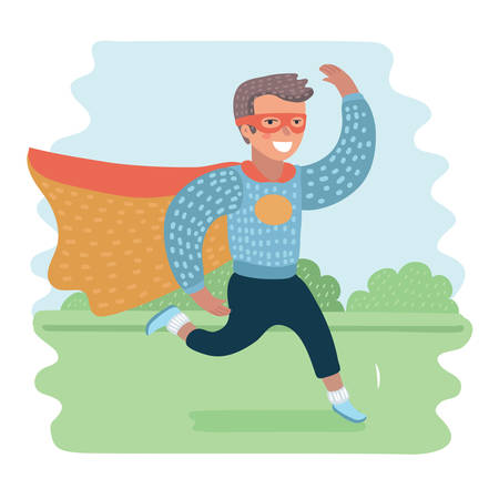 Cartoon illustration of cute boys super hero in suit run in park landscape. Superhero costume run, with a mask on her face and evolving cloak red cloak behind. Illustration