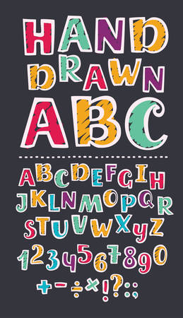 Vector cartoon illustration of Colorful kids abc and numbers set with marker strokes texture. Division sign, multiplication, plus, equals on black background. Hand drawn imitation doodle.