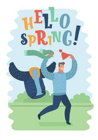 Vector cartoon illustration of happy man smiling, take off his warmerclothes and run: scarf, winter jacket, cup. Hello spring drawn lettering.  funny character on greeny landscape. End of cold season. Illustration