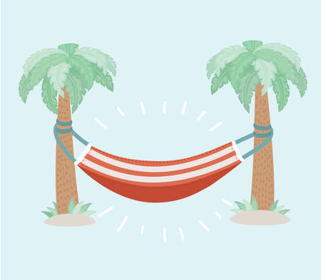 Vector cartoon illustration of summer life vector illustration with hammock hanging between green trees. Object on isolated background.