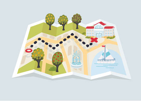 Vector cartoon funny illustration of paper map assembled trees building and city element: boat on the lake. Landmarks on the way to destination.