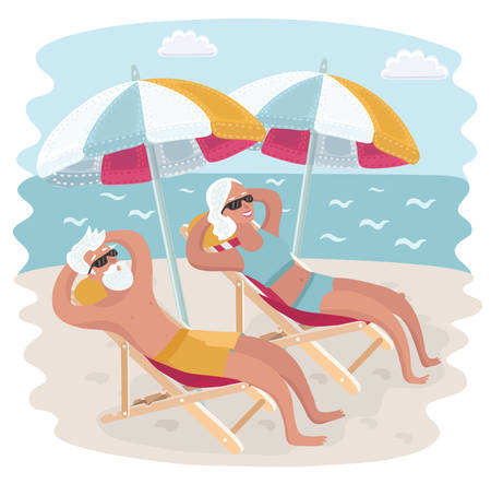 Vector cartoon illustration of Elderly couple relaxing in their deck chairs under sun umbrella on the seacost beach. Taking sunbath Çizim