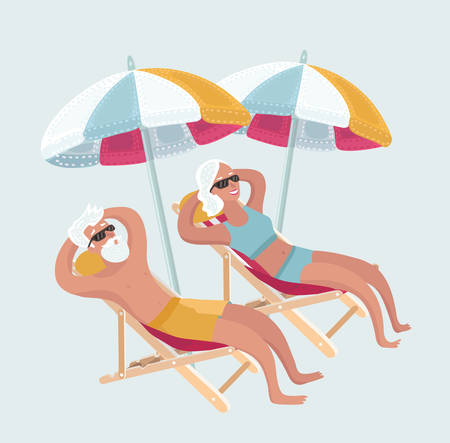 Vector cartoon funny illustration of Happy Elderly Couple Enjoying Beautiful Sunset or taking sunbath at the Beach. Comic characters on white isolated background.