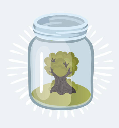 Vector cartoon illustration of old isolated tree plant growing in the glass jars. Garden eco system - ecology and environment concept. Object on white background.