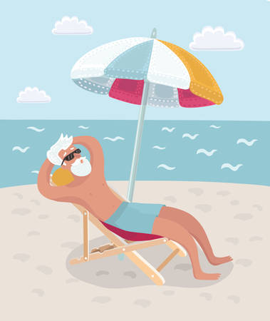 Vector cartoon illustration of Retired man on vacation sitting in beach chair under umbrella and taking sunbath on the beach seacoast. Иллюстрация