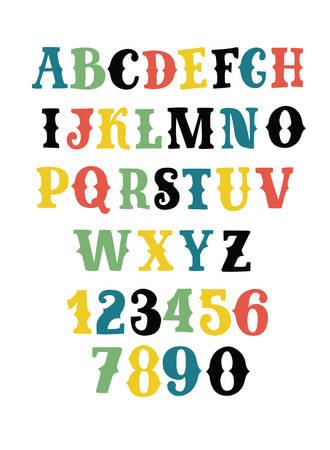西洋スタイルのフォントと数字のベクトル漫画セットをダーレントカラーで。レトロな装飾的なセリフレタリングアルファベット。首都上セリフ ABC