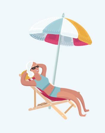 Vector cartoon illustration of elderly woman relaxing take sunbath, sitting in sun chairs under beach umbrella.