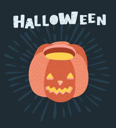 Vector cartoon illustration of Halloween pumpkin Icon Isolated on dark background