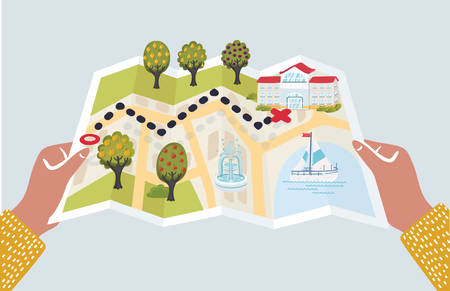 Vector cartoon illustration funny of paper map with landmarks. New locations and landmarks to visit on paper map in his hands while traveling abroad during summer vacations. Route, destination, start point. Vettoriali
