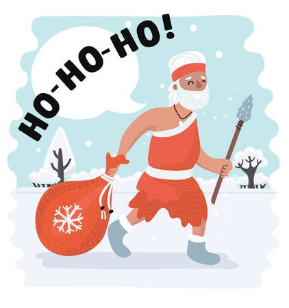Vector cartoon illustration of Xmas in stone-age style. Primitive human Santa Claus walk in snowy landscape with present bag and spear in his hands. Ho-ho-ho! exclamation in speech bubble.