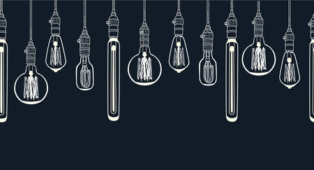 Vector cartoon horizontal seamless image. Outline illustration of Bulb different shape Edison lamp background. Electric lamp Doodle line sketch ornamental decor on black
