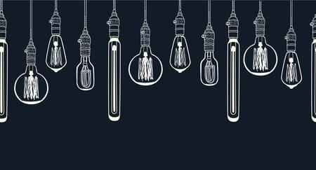 Vector cartoon horizontal seamless image. Outline illustration of Bulb different shape Edison lamp background. Electric lamp Doodle line sketch ornamental decor on black